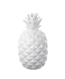Abacaxi decorativo 28 cm cerâmica branco lyor