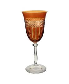 Taca p/agua angela lapidada em cristal ecol 350ml a22cm c/ambar