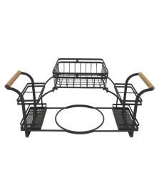 Suporte p/pratos e talheres em ferro e madeira -preto l51xp18xa24.5 cm