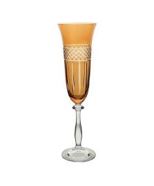 Taca p/champanhe lapidada em cristal ecol.190 ml a24,5cm c/ambar