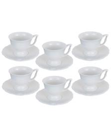 Jogo 06 xícaras café 100 ml porcelana queen lyor