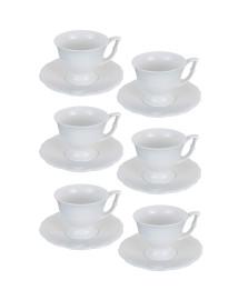 Jogo 06 xícaras chá 200 ml porcelana queen lyor