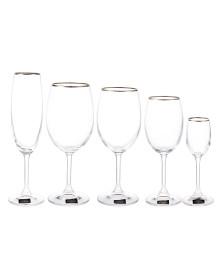Jogo 30 taças cristal filete prata klara bohemia