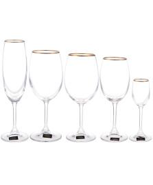 Jogo 30 taças cristal filete dourado klara bohemia