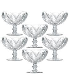 Jogo 06 taças sobremesa diamond vidro lyor