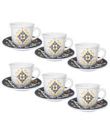 Jogo 06 xícaras chá floreal são luis oxford