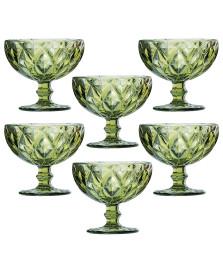 Jogo 06 taças sobremesa diamond verde lyor