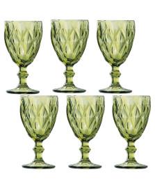 Jogo 06 taças água 260 ml diamond verde lyor