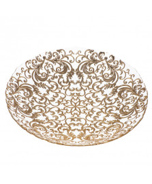 Fruteira 40 cm vidro casablanca dourado