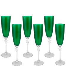 Jogo 06 taças champagne elisabeth verde bohemia