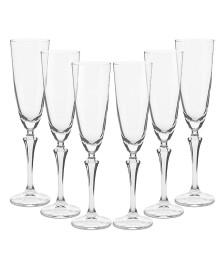 Jogo 06 taças champagne elisabeth cristal bohemia