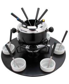 Conjunto para fondue giratorio 23 peças preto euro
