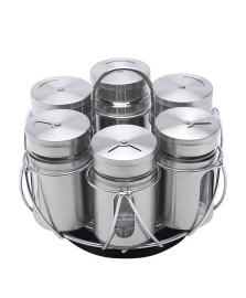 Porta temperos 06 potes vidro/aço inox bon gourmet