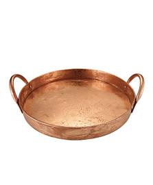 Bandeja redonda em metal 32 cm cobre mart