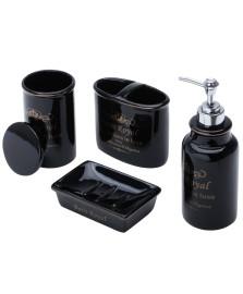 Jogo para banheiro cerâmica royal preto prestige