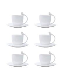 Jogo 06 xícaras para café porcelana birds wolff