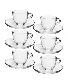 Jogo 06 xícaras para café vidro basic pasabahce