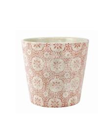 Cachepot de cerâmica 14 cm branco/vermelho mart