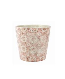 Cachepot de cerâmica 13.5 cm branco/vermelho mart