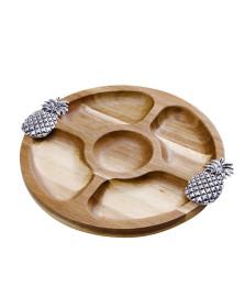 Petisqueira redonda de madeira 25.5 cm abacaxi