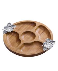 Petisqueira redonda de madeira 25.5 cm coruja