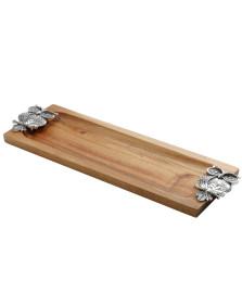 Bandeja retangular de madeira 36x13 cm coruja