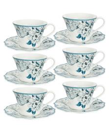 Jogo 06 xícaras para chá pauli blue lhermitage