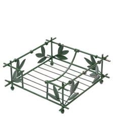 Porta-guardanapos ferro verde folhas de bambu