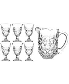 Jogo de jarra e 06 taças cristal lile lyor