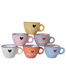 Jogo 06 xicaras p/cafe coloridas i love