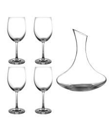 Kit para vinho tinto 04 taças e 01 decanter