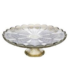 Prato p/bolo bruxelas em cristal ecologico31x3 cm transparente