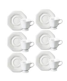 Jogo 06 xícaras para café porcelana prisma schmidt