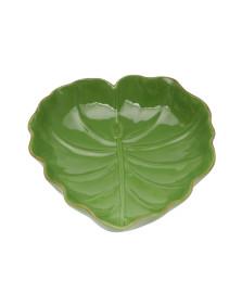 Folha decorativa cerâmica média verde lyor