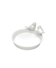 Prato decorativo 12 cm cerâmica branco pássaro