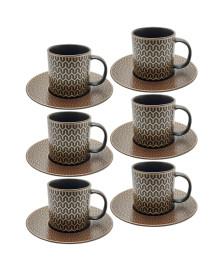 Jogo para café 12 peças porcelana brown