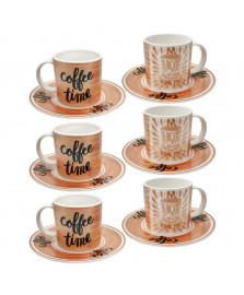Jogo para café 12 peças porcelana hot coffee