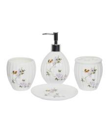 Jogo p/ banheiro 04 peças porcelana flores