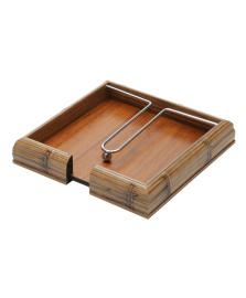 Porta guardanapos bambu 20x20 cm woodart