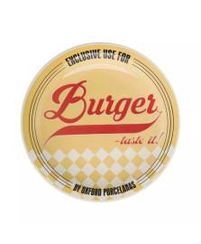 Prato raso burger 26 cm porcelana amarelo oxford