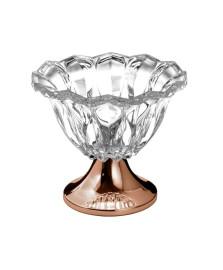 Centro de mesa de vidro com pe de aço louise rose 25 x 22 cm