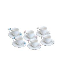 Conjunto 06 xicaras de porcelana para café birds wolff