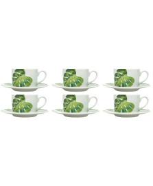 Conjunto 06 xicaras de porcelana para cha com pires folhas 200 ml bon gourmet