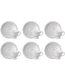 Jogo 06 xícaras chá porcelana pomerode schmidt