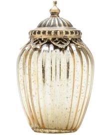 Potiche decorativo de vidro e zamac dourado 10 x 18 cm lyor