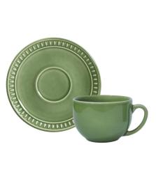 Jogo de xicaras de chá sevilha verde salvia porto brasil
