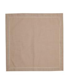 Jogo 02 guardanapos ponto ajour algodao luxo taupe 40 x 40 cm