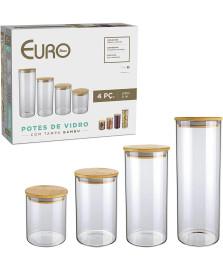 Jogo De Potes de Vidro Slim Com Tampa Bambu 4 Peças Euro