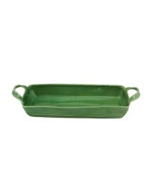 Travessa Cerâmica Retangular Ocean Verde Bon Gourmet 43x15Cm