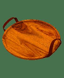 Bandeja de madeira redonda com alca de couro james.f.